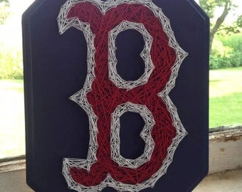 "Boston Red Sox ""B"" String Art, Red Sox wall hanging, Boston strong, baseball gift"