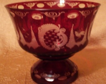 Ruby Red Egerman Czech Glass Compote Bowl, Red Glass Dish, Etched Glass, Footed Bowl, Pedestal Bowl