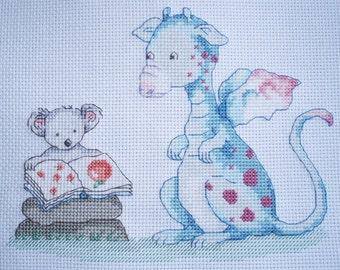 KL67 Story Time! Dillon and Ko Counted Cross Stitch Kit - Dragon and Koala Bear