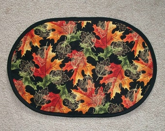 6Pc Set Fall Leaves Placemat Table Runner Table Mat Candle Mat Centerpiece 12x18