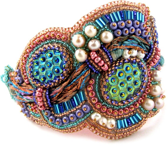 Items similar to cleo bead embroidery fiber bracelet
