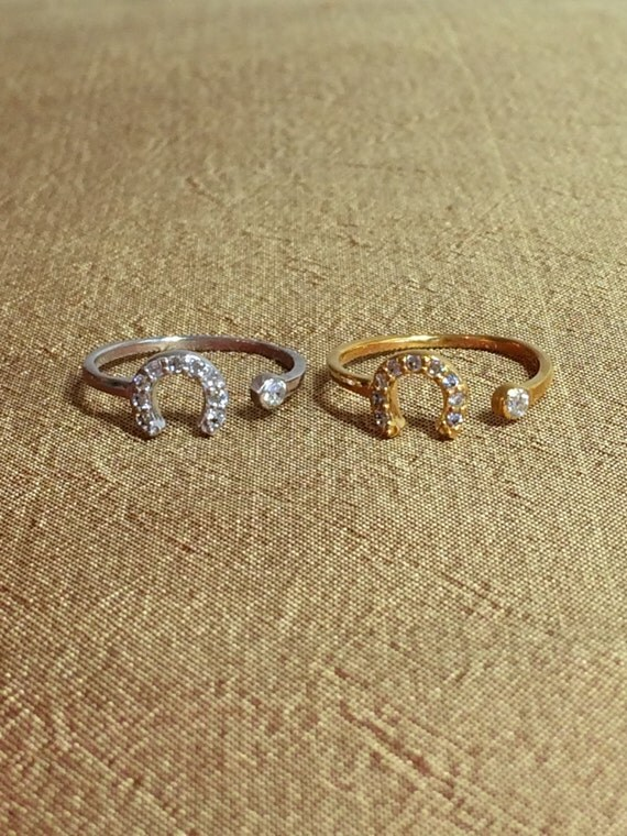 Horseshoe Adjustable CZ Ring for good luck and fortune
