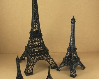 "BLACK  Eiffel Tower Paris France Metal Stand Model For Table Decor CHOOSE SIZE - 15"" - 10"" - 6"" or 3"" Tall"