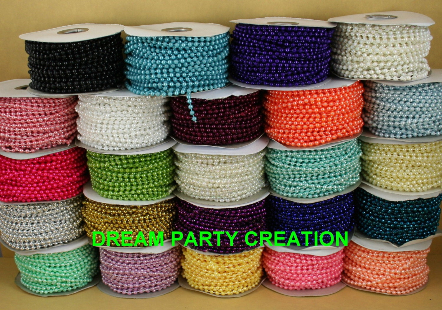 Plastic beads for crafts - 4mm Faux Pearl Plastic Beads On A String Craft Roll 24 Yards Equals 72 Feet Choose Color