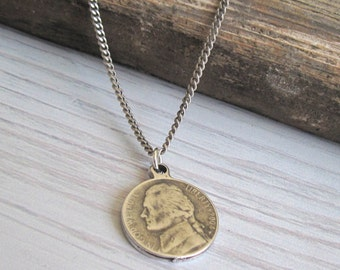 Men's Necklace - Men's Coin Necklace - Men's Silver Necklace - Men's Jewelry - Men Jewelry - Men Necklace - Boyfriend Gift - Husband Gift