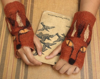 Fox Mittens - Hand Felted Merino Wool - Animal Gloves - Wool Mittens - Fingerless Gloves - Fox Gloves