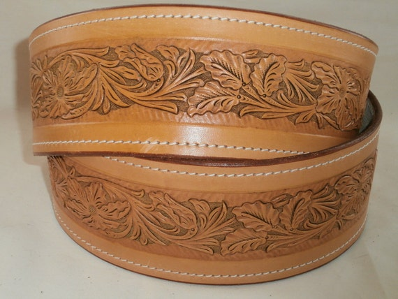 floral pattern tooled leather sash belt by