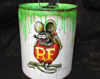 Hand Painted Rat Fink 5 Gallon Can