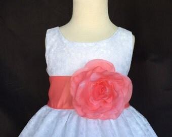 White Flower girl dress Floral Elegant Fall Christmas Pageant Recital Summer Easter Toddler Girl Dress S M L XL 2 4 6 8 10 12 14