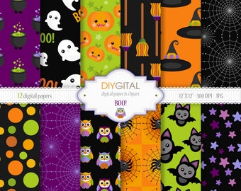 """BOO! Halloween Digital Paper Set - 12 Printable digital papers for scrapbooking, invites, cards - 12""""x12""""  300dpi- Instant Download"""