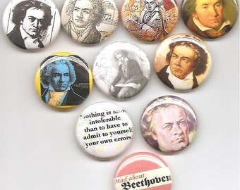 Ludwig van Beethoven German Composer and Pianist set of 10 Pins Button Badge Pinback