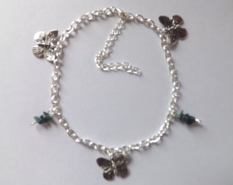 Butterfly Charms Anklet With Malachite Chips Ankle Bracelet Hippy Boho Surf