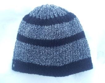 Three Black Stripes Gray Men's Hat