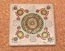 Hand painted tile coaster
