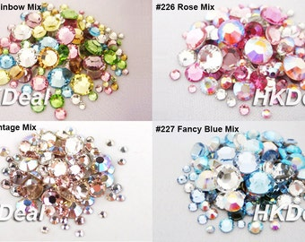 144 pieces Mix Size Mix Color Swarovski Rhinestone Flatback Crystal Assorted Colors DIY Nail Art Wedding Dress Decoration [4 Options]