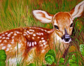 Deer / Fawn / Bambie / Wildlife Original Oil Painting 18x22 Samantha Childs - B2CA