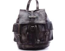 "14""Men Leather Backpack Gray Vintage Fashion Particular Middle Genuine Leather Backpack,Laptop Backpack,Duffle Backpack,School Backpack"
