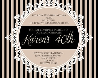 Ornate Frame | Stripes | Wedding | Party Invitations