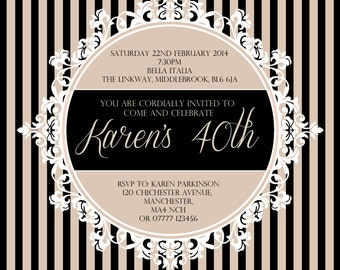 10 | Ornate Frame | Striped Background | Wedding/Birthday/Party Invitations