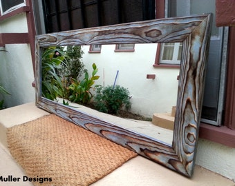 Handmade Sky Blue Wood Mirror 137 x 57cm
