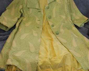 SALE Spring or Fall  Dress with Long Jacket Matching Colors, Green Yellow, PERFECT EASTER Dress Vintage Clothing, Very Small, 0,1,2,3, Lined