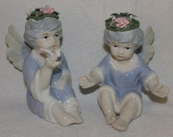 Two Vintage Porcelain Angels, Creme and Blue Glossy Finish, Holiday Season or Home Decoration, Collectibles for Collectors of Angels