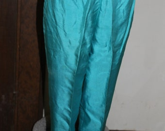 Adelaar Vintage Pants 100% Silk, Agua Blue, Very Small, The Pants Barely Fit My Mannequin, Great Clothing, Silky Pants, Shiny Pants, Bright