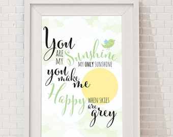 "Printable ""You are my Sunshine"", INSTANT DOWNLOAD - png and pdf files included, 8x10 gender neutral print, green"