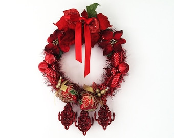 The Revelations Red Hand Crafted Christmas Wreath: OOAK Home Decor