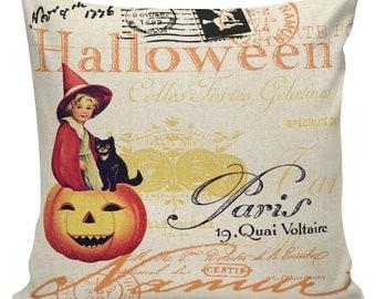 Pillow Cushion Halloween Orange Vintage Pumpkin Jack O Lantern Cotton #RQ0148 RavenQuoth All Hallow's Eve Home Decor