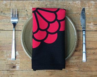 Flower Napkins - Red on Black (set of 4)