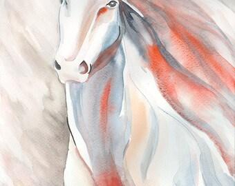 Horse Original Watercolor handmade