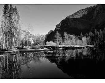 Yosemite, Winter Reflection, Black & White photography, Half Dome, Wall Art, Landscapes