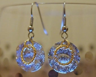 Silver Disc with Gold Ring Earrings
