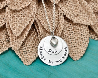 Always in my heart necklace, memorial necklace, remembrance necklace, Mom, Dad, or name