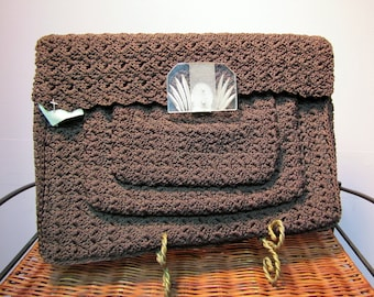 Unusual Vintage Early 40's Brown CORDE, ART DECO Clutch Purse, w/ Lucite Clasp