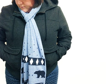 Holiday Screen Printed Fine Jersey Scarf, Triblend Blue
