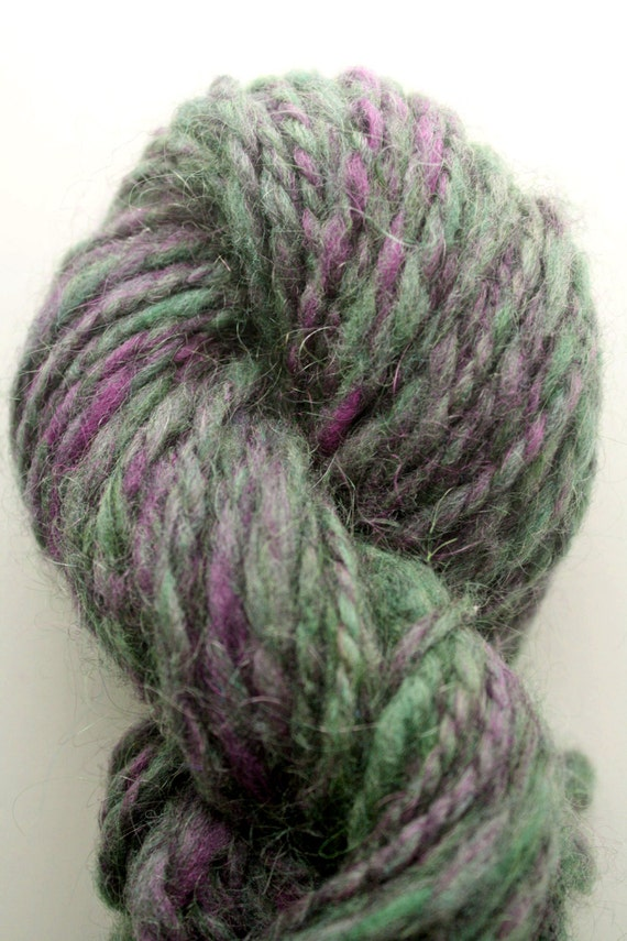 handspun wool yarn green and purple mix chunky weight from starandcrossbones on etsy studio. Black Bedroom Furniture Sets. Home Design Ideas