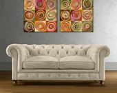 """Abstract Art Giclee Print on Gallery Wrap Canvas """"Tuscany Five"""" Modern Art Diptych Print  20x40, 24x48 Ready to Hang"""