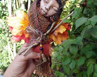 Brigid Moon, Goddess art doll,Folk Art, Assemblage,Polymer Clay Art, Abundance and Prosperity , OOAK Art Doll
