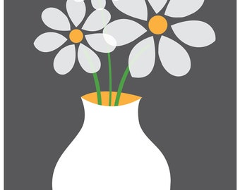 Giclee Daisies Art Print - Simple White Flowers Kitchen and Home Print - Mid-Century Modern Inspired Illustration