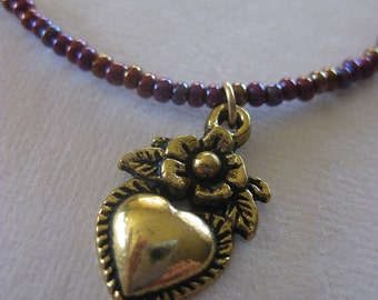 Child's Necklace Heart Necklace Birthday Gift Heart Milagro Gold Heart Seed Beads Layering Necklace Over the Head Stacking Neckace