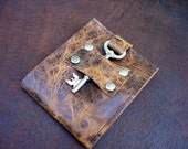 Distressed Brown Leather Wallet with Vintage Skeleton Key - Men's Durango Steampunk Bifold  MADE TO ORDER