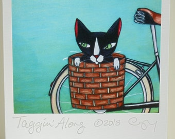 "Greeting Card Set of 3, ""Taggin' Along"" cat in bike basket, or mix and match your own choices"