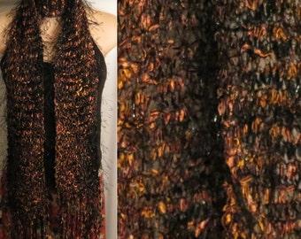 Hand Knit Scarf Eyelash Hand Painted Ribbon Black Brown