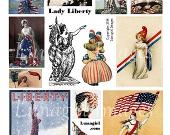 LADY LIBERTY digital collage sheet DOWNLOAD July Fourth Patriotic Victorian Vintage Images Cards ephemera Independence Day American Flags