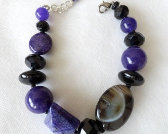 Purple Amethyst, Black Onyx and Agate Stone Statement Chunky Bracelet