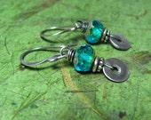 Caribbean Blue - Picasso Czech Glass and Sterling Silver Earrings