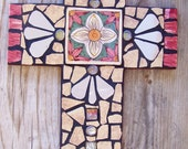 Large Mosaic Art Wall Cross in Neutral and Burgundy