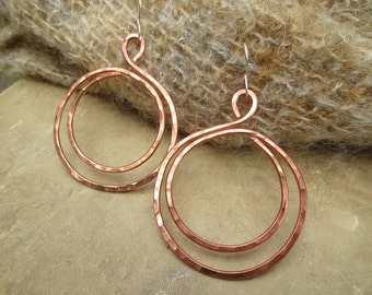 Big Copper Hoop Earrings, Double Hammered Hoops, Big Hoops, Copper Jewelry, Big Hoop Earrings, Copper Earrings, Gift for Her, Wife, Women,
